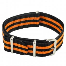 Ремешок NATO G10 черный с двойной оранжевой полосой