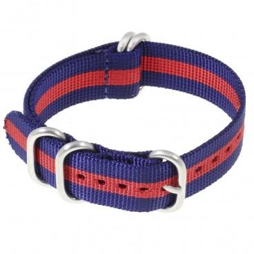 Ремешок ZULU 5 колец синий с красной полосой