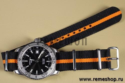 Ремешок NATO G10 черный с оранжевой полосой на часах