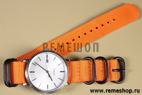 Ремешок ZULU 5 колец PVD оранжевый на часах
