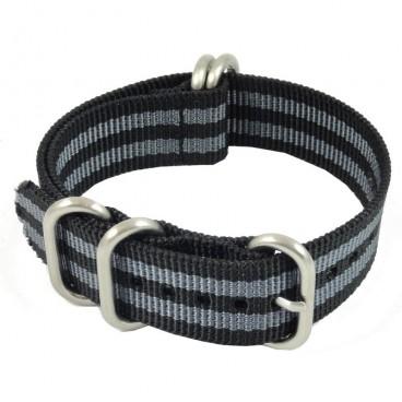 Ремешок ZULU 5 колец черный с двумя серыми полосами