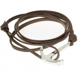 Браслет с якорем WatchBandit, коричневый кожаный