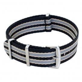 Ремешок NATO Seatbelt чёрно-бело-голубой